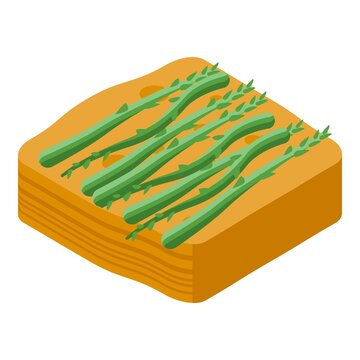 Asparagus cake icon. Isometric of Asparagus cake vector icon for web design isolated on white background