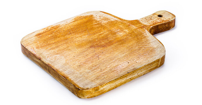 chopping board, handmade wooden kitchen board, vintage rustic kitchen utensil, isolated white background