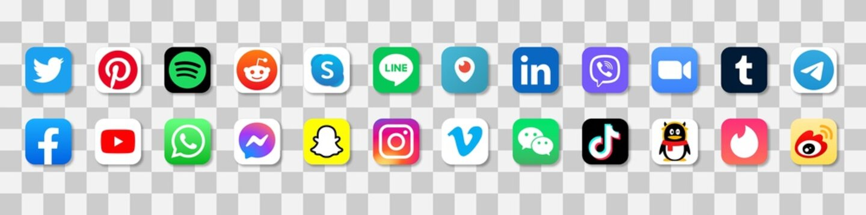 social media app icons set editorial. Facebook, Messenger Ukraine, Rivne, 4-28-2021