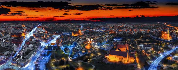 Panorama Olsztyna, miasta na Warmii w północno-wschodniej Polsce