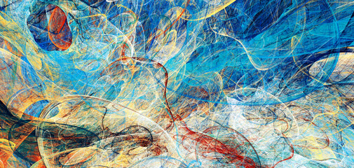 Fototapeta Artistic bright texture. Abstract blue movement background. Modern paint pattern. Fractal artwork for creative graphic design