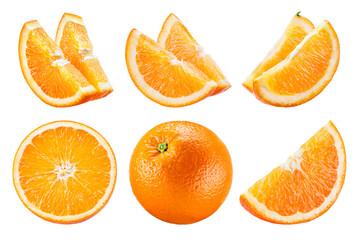 Orange isolate. Orange fruit set on white background. Whole orange fruit with slice.