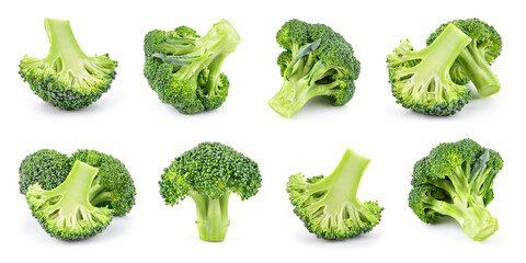 Obraz Broccoli isolated. Broccoli on white. Whole, half, slice, cut broccoli set. - fototapety do salonu