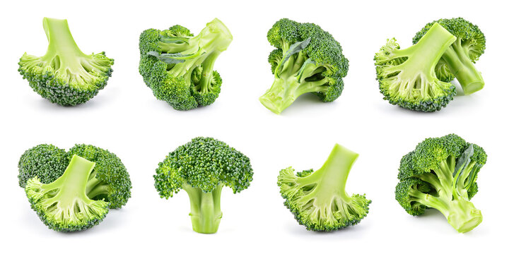 Broccoli isolated. Broccoli on white. Whole, half, slice, cut broccoli set.