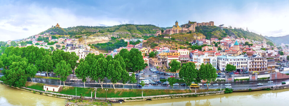 The wide panoramic view of Tbilisi old town center, Georgia