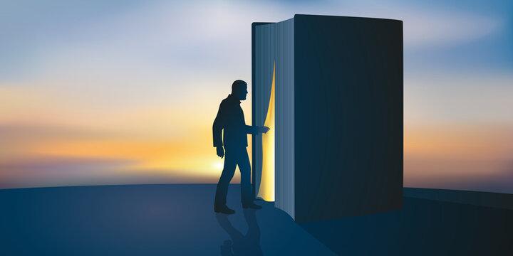 Concept du savoir et de la connaissance, avec un homme qui entre symboliquement à l'intérieur d'un livre.