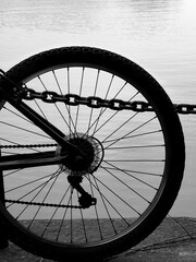 bicycle wheel by the water