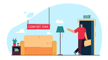Fototapeta Businessman leaving comfort zone flat vector illustration. Office worker on way of changing lifestyle going through exit door. Comfort, change, stress, career concept for banner design, landing page