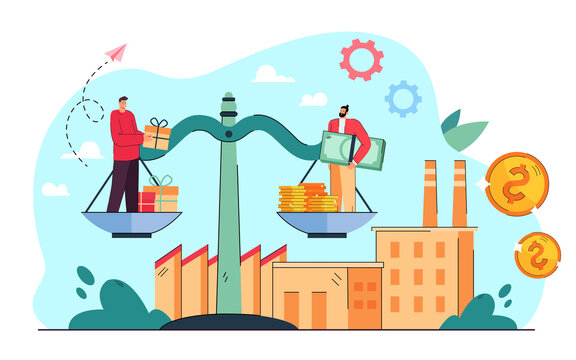 Tiny businessmen standing on giant scales with money and gifts. Flat vector illustration. .Economy and finance balance, factory production value increasing. Microeconomics, cooperation, money concept