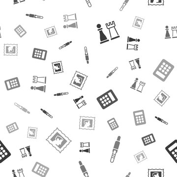 Set Chess, Audio jack, Calculator and Postal stamp on seamless pattern. Vector