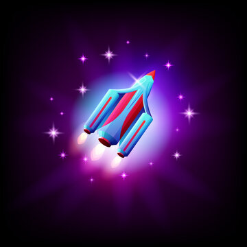 Ufo alien spaceship on the background of space and stars icon, vector illustration.