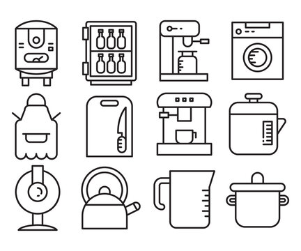 appliance and kitchenware icons set vector
