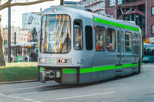HANOVER / GERMANY - APRIL 25, 2021: Tram from Uestra drives in Hanover city. Uestra is the operator of public transport in the city of Hanover.