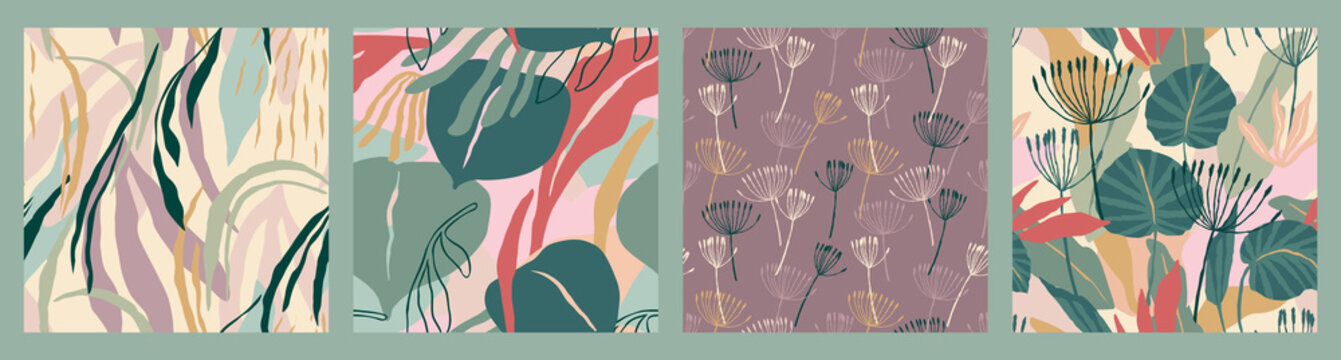 Abstract collection of seamless patterns with leaves and geometric shapes. Modern design