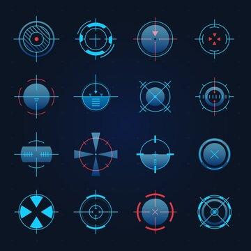 Futuristic aim. Spaceship or sniper weapon focus on target for game hud. Digital hologram crosshair, radar or camera viewfinder vector set