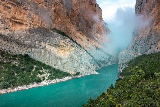 Congost de Mont-Rebei gorge, border between Catalonia and Aragon, Spain