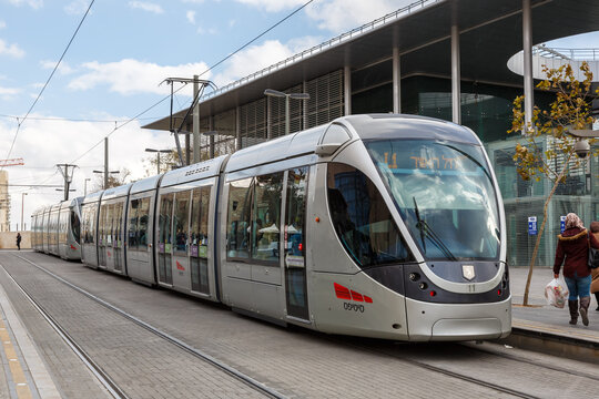Tram Jerusalem Light Rail Transit public transport transportation in Israel