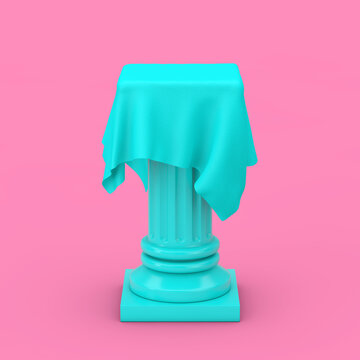 Blue Presentation Column Pedestal with Silk Cloth in Duotone Style. 3d Rendering