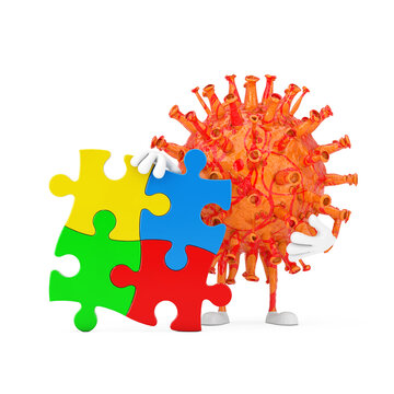 Cartoon Coronavirus COVID-19 Virus Character Mascot Person with Four Pieces of Colorful Jigsaw Puzzle. 3d Rendering