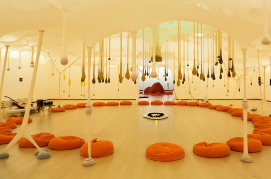 BILBAO, SPAIN, MARS 6: Art installation made of Ernesto Neto: The body that carries me. Museum Guggenheim, Bilbao. Spain 2014.