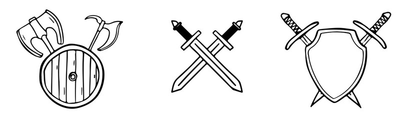 Fototapeta Set of medieval weapons of swords, axes crossed behind the shield in doodle style isolated.