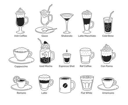 Line art illustration set of coffee cups