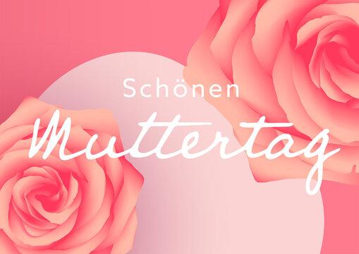 Schonen Muttertag,deux roses sur un coeur rose posés sur un fond rose
