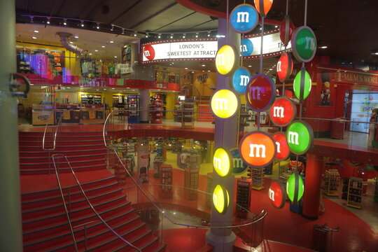 London, UK, 2.09.2019 - Empty Tourists shop at M&Ms World, world's largest candy store specialized in M&Ms candy and merchandise. London's Sweetest Attraction official MMs store in London