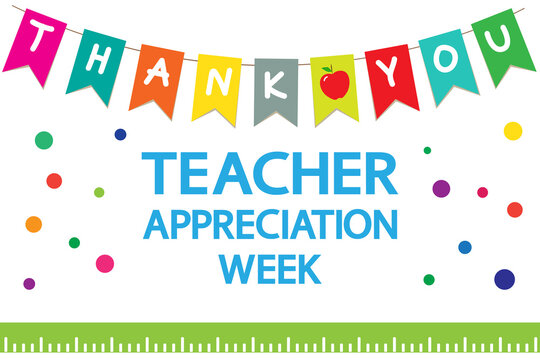 """Teacher Appreciation Week school  banner. Garland of colored flags, text """"thank you"""", apple, ruler on a white background, vector."""