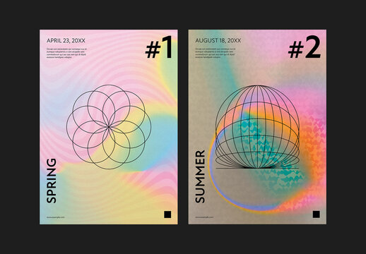 Modern Poster Layout with Colorful Gradient Texture