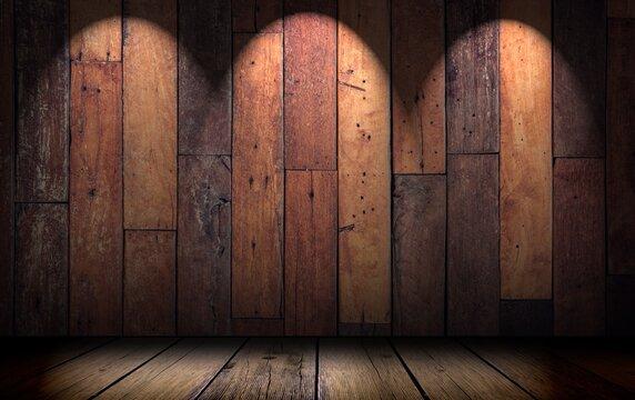 Fondo abstracto de madera con luces de enfoque