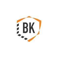 Fototapeta Initial Letter BK Shield Hexagonal Logo Template. Creative Logo Template