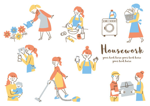 家事をする女性_セット