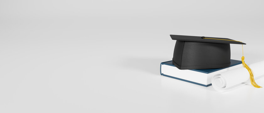 Graduation concept, 3D rendering, graduation cap on book on the white background with copy space