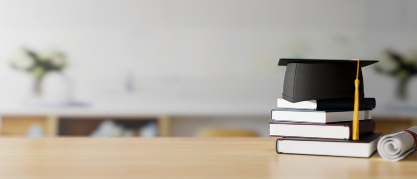 Graduation concept, 3D rendering, graduation cap on stack of books on the table with copy space and blurred background