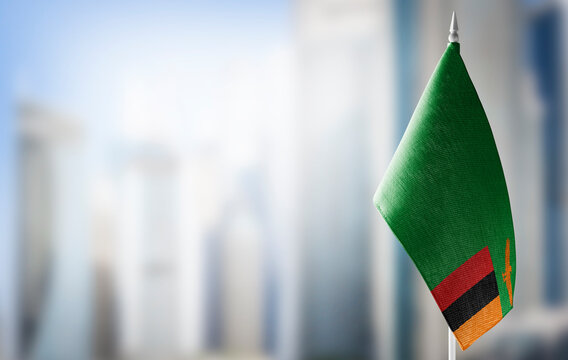 A small flag of Zambia on the background of a blurred background
