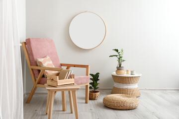 Obraz Stylish interior with modern armchair and mirror - fototapety do salonu