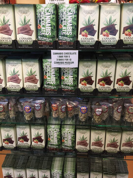 Cannabis chocolate bar store for sale in museum shop in Amsterdam west