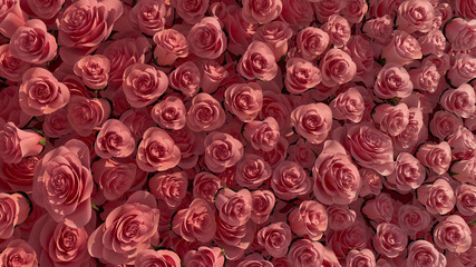 Beautiful Flowers arranged to create a Elegant wall. Red, Romantic Background formed from Bright Roses. 3D Render Wall mural