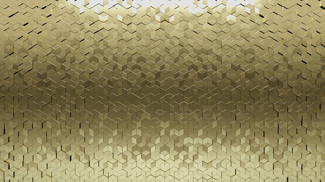 Diamond shaped, Luxurious Wall background with tiles. Polished, tile Wallpaper with Gold, 3D blocks. 3D Render