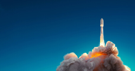 Rocket successfully launched into space against blue sky. Spaceship lift off
