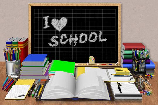 Lavagna centrale con testo Io amo la scuola. Materiale di cancelleria utilizzato a scuola,università, ufficio.