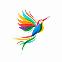 Fototapeta abstract colorful hummingbird colibri bird logo line outline monoline vector icon illustration