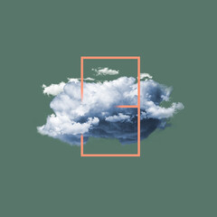 Modern design, contemporary art collage. Inspiration, idea, trendy urban magazine style. Big cloud with frame on pastel green background