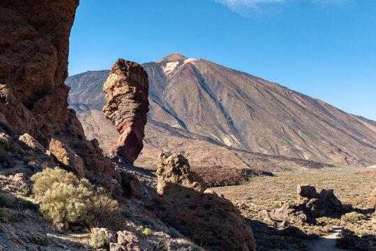 Roque Cinchado and peak of Teide volcano, Teide National Park, Tenerife island, Spain