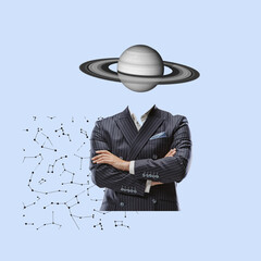 Modern design, contemporary art collage. Inspiration, idea, trendy urban magazine style. Businessman with planet insted head on geometrical background