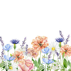Obraz Watercolor wild flower border. Yellow and white botanical bright wildflowers, rose, peony, lavander, herbs, leaves, branches, twigs, foliage, leaves for wedding invite, bridal shower - fototapety do salonu