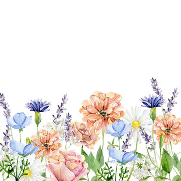 Watercolor wild flower border. Yellow and white botanical bright wildflowers, rose, peony, lavander, herbs, leaves, branches, twigs, foliage, leaves for wedding invite, bridal shower