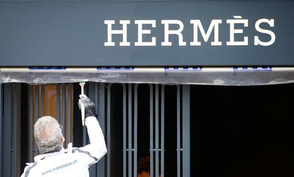 French luxury fashion brand Hermes logo in Zurich