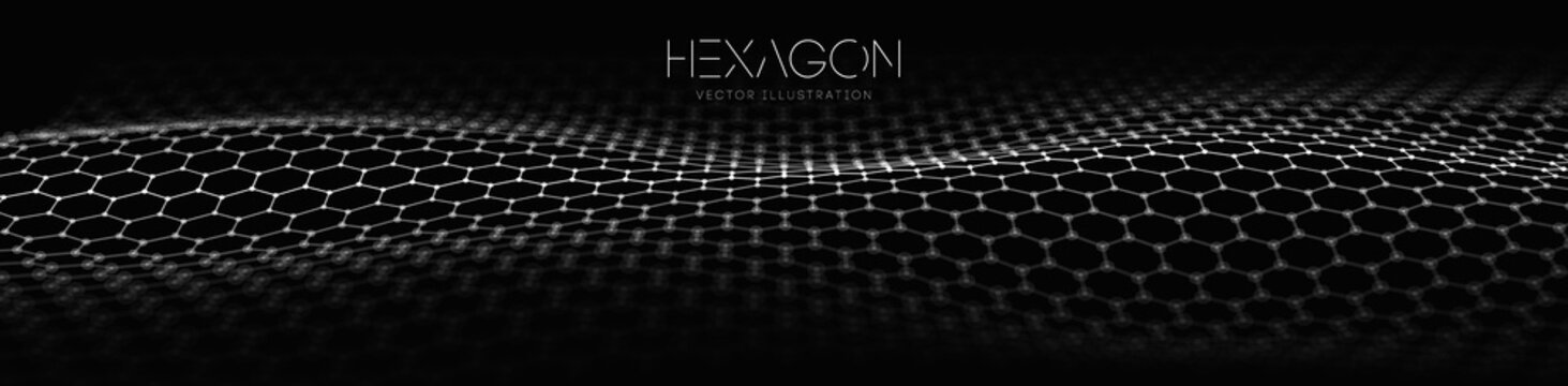 Hexagon wave vector template. Modern 3d graphic geometric background. Digital technology web flow abstract background. EPS 10.